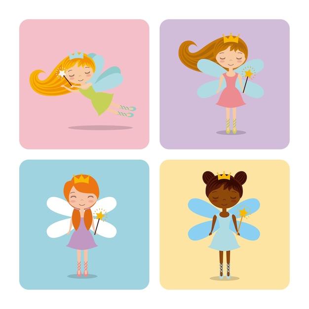 Cute little fairy character Premium Vector