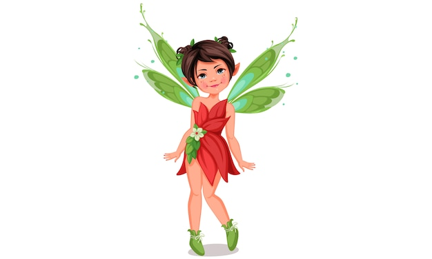 Cute little fairy in standing pose Premium Vector