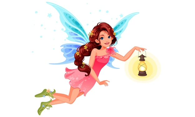 Cute little fairy with beautiful long braided hairstyle holding a lantern Free Vector