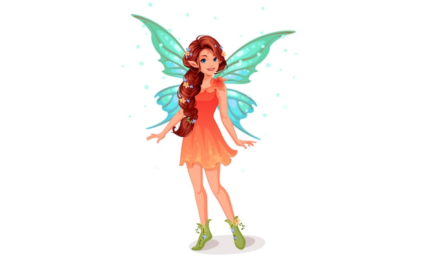 Cute little fairy with beautiful long braided hairstyle Free Vector
