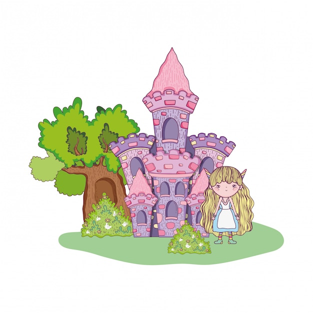 Cute little fairy with castle in the landscape Premium Vector
