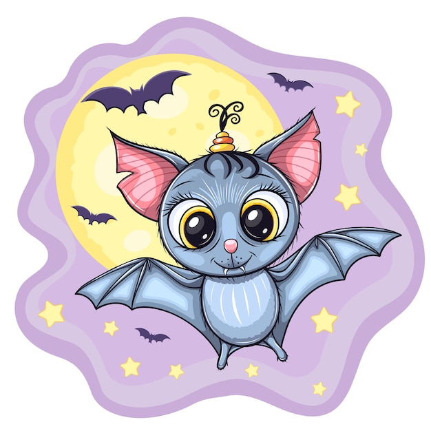 Cute little flying baby bat, with moon and stars on background Premium Vector