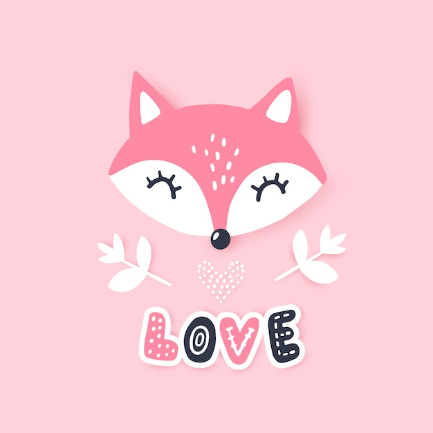 Cute little fox.  animal illustration. hand drawn cartoon fox. Premium Vector
