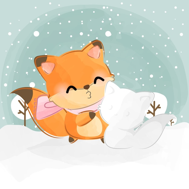 Cute little fox and snow fox Premium Vector