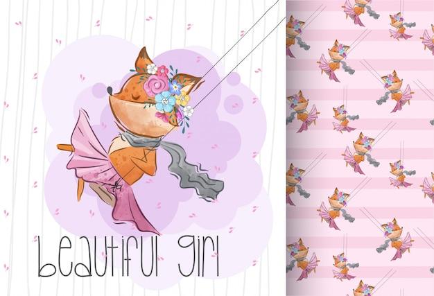 Cute little fox on a swing. seamless pattern animal Premium Vector
