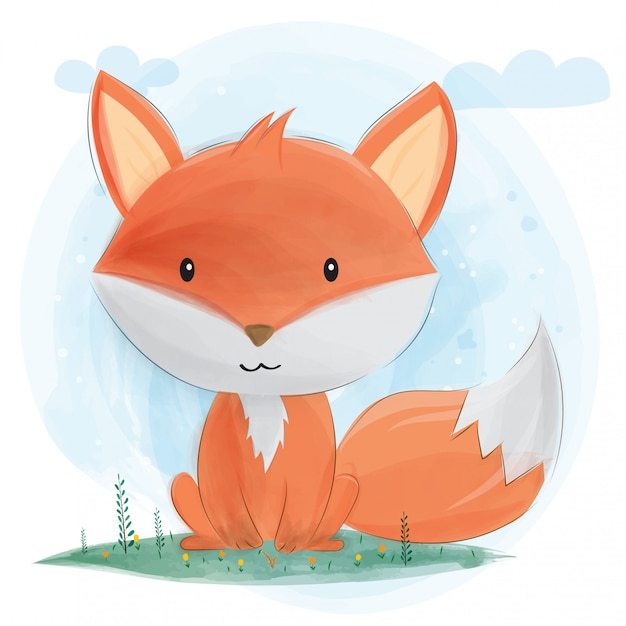 Cute little fox. Premium Vector