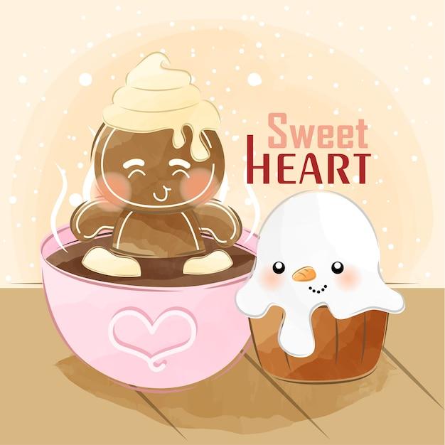 Cute little ginger on hot chocolatetub Premium Vector