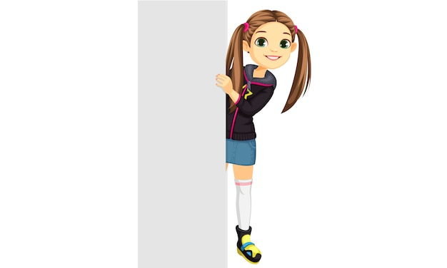 Cute little girl behind a board Free Vector