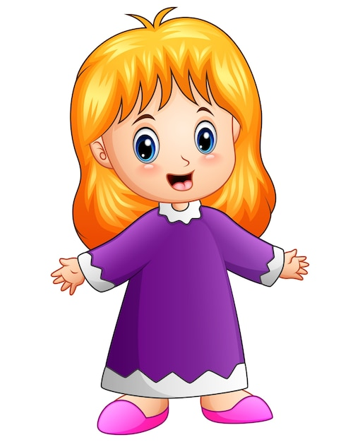 Cute Little Girl Cartoon Vector Premium Download