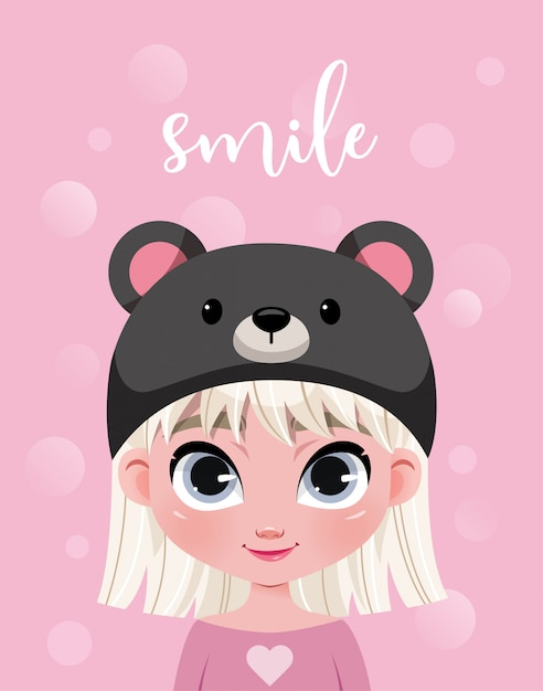 Premium Vector Cute Little Girl Character In Hat On Pink Background With Bokeh