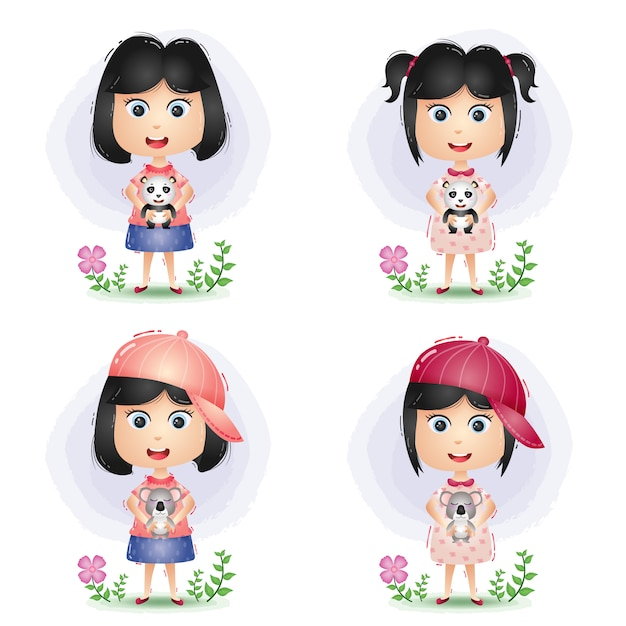 Cute little girl happy playing and hug with the doll Premium Vector