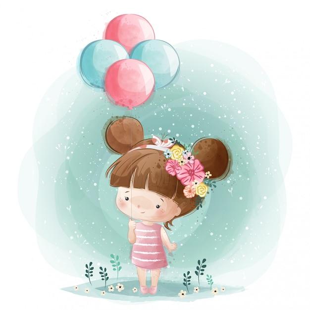 Cute little girl holding balloons Premium Vector