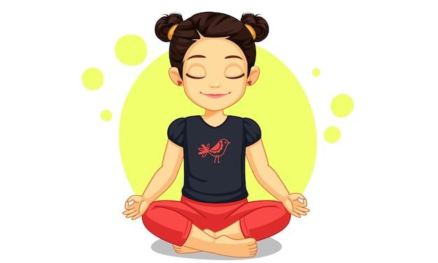 Милая маленькая девочка в позе йоги иллюстрации Premium векторы