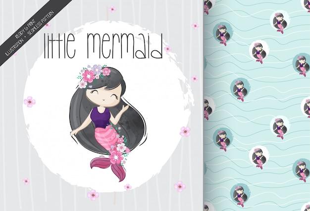 Cute little girl mermaid with seamless pattern Premium Vector