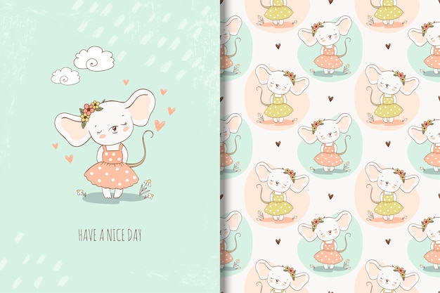 Cute little girl mouse in hand drawn style illustration. girlish repeating background and card Premium Vector