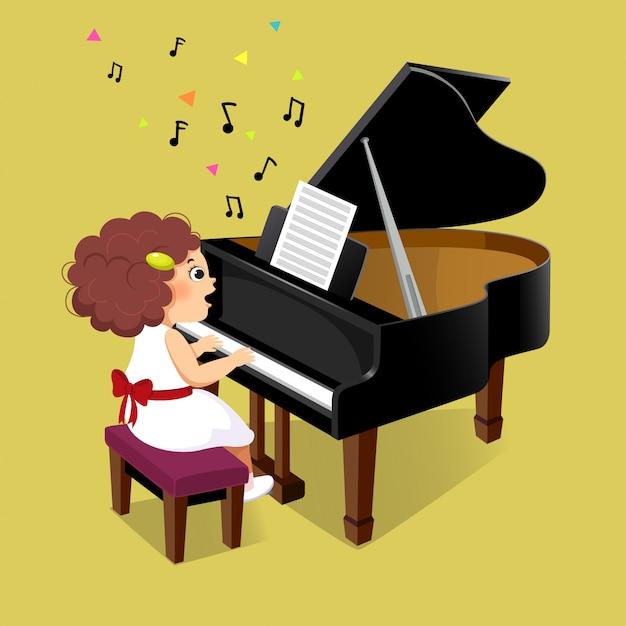 Милая маленькая девочка играет на рояле Premium векторы