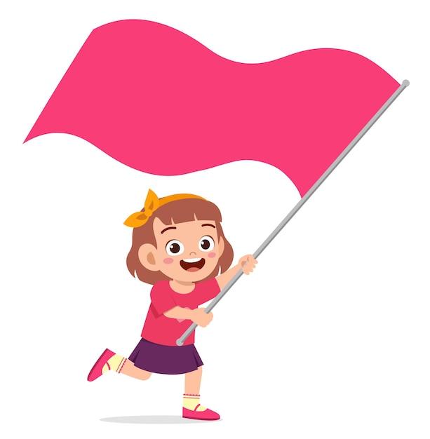 かわいい女の子が実行し、旗を保持しています Premiumベクター