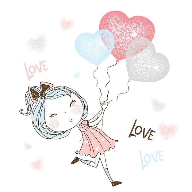 A cute little girl runs after balloons in the form of a heart. Premium Vector