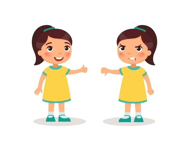 かわいい女の子は親指を上下に表示されます。子供の漫画のキャラクター。 無料ベクター