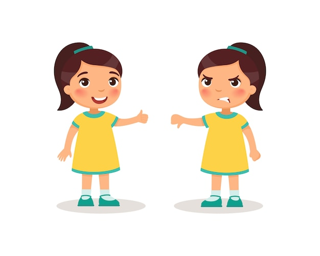 Cute little girl shows thumb up and thumb down. children cartoon characters. Free Vector