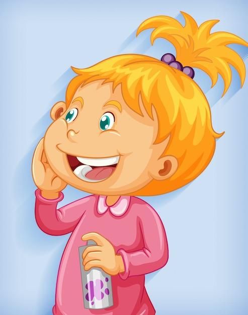 Personaggio dei cartoni animati di sorriso della bambina sveglia isolato su priorità bassa blu Vettore gratuito