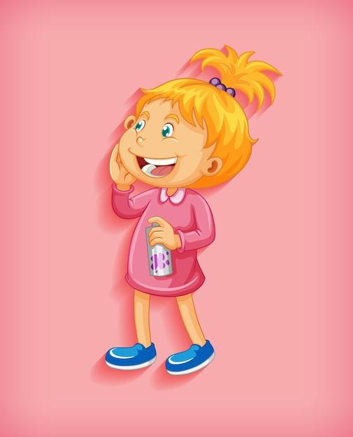 Милая маленькая девочка улыбается в стоячем положении мультипликационного персонажа, изолированного на розовом фоне Бесплатные векторы