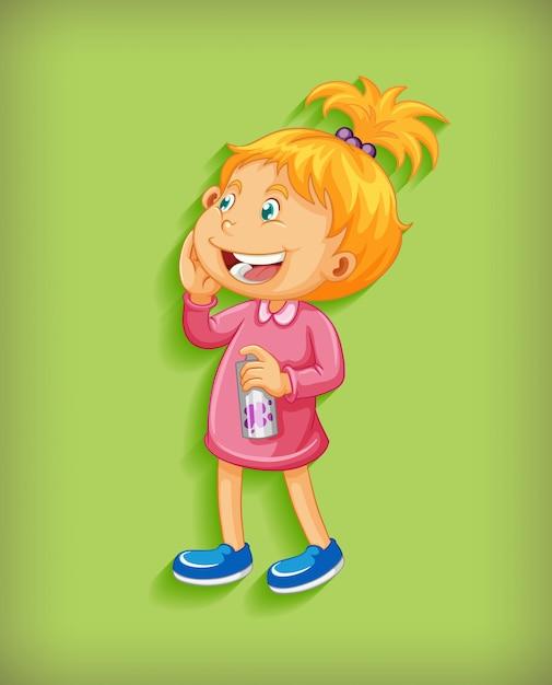 Bambina sveglia che sorride nel personaggio dei cartoni animati di posizione diritta su fondo verde Vettore gratuito