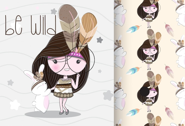 Cute little girl tribal with seamless pattern Premium Vector