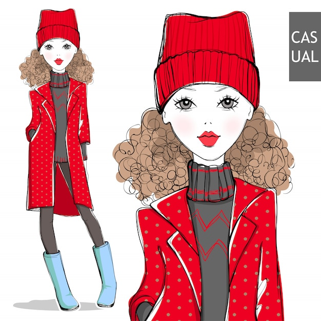 Cute little girl in winter clothes. Premium Vector