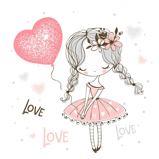 Cute little girl with a balloon in the form of a heart. valentine. Premium Vector
