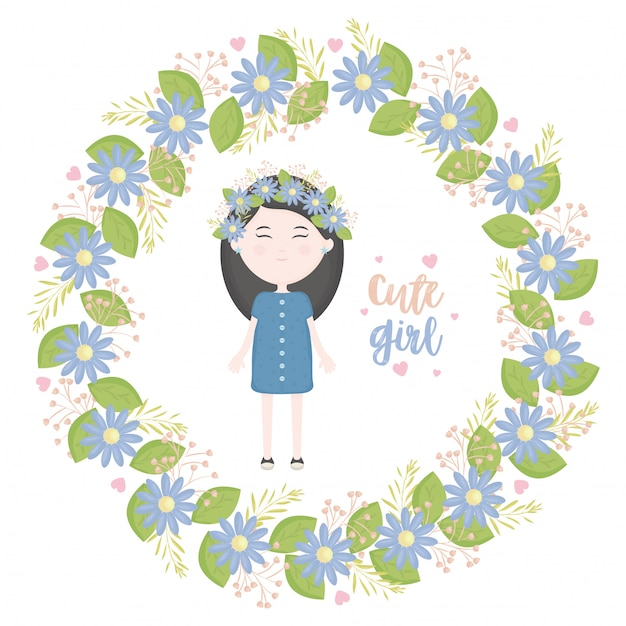 Cute little girl with floral crown character Free Vector