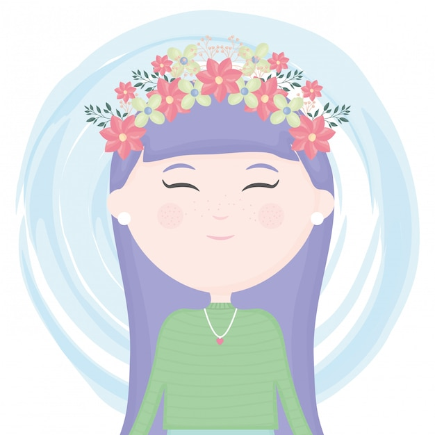 Cute little girl with floral crown in the hair character Free Vector