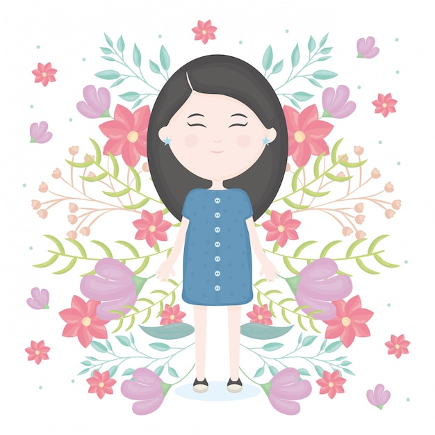 Cute little girl with floral decoration character Free Vector