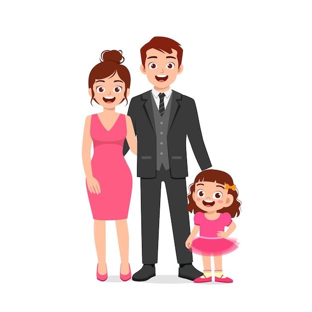 엄마와 아빠가 함께 귀여운 소녀 프리미엄 벡터