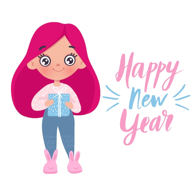 Cute little girl with new year's toy card Premium Vector