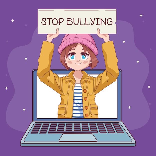 ノートパソコンのコミックマンガのキャラクターイラストでいじめのバナーを停止するかわいい女の子 Premiumベクター
