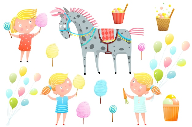 お菓子、綿菓子、ロリポップ、ポニーとフェアでかわいい女の子。カーニバル、フェア、その他の子供向けの娯楽クリップアートコレクション。 Premiumベクター
