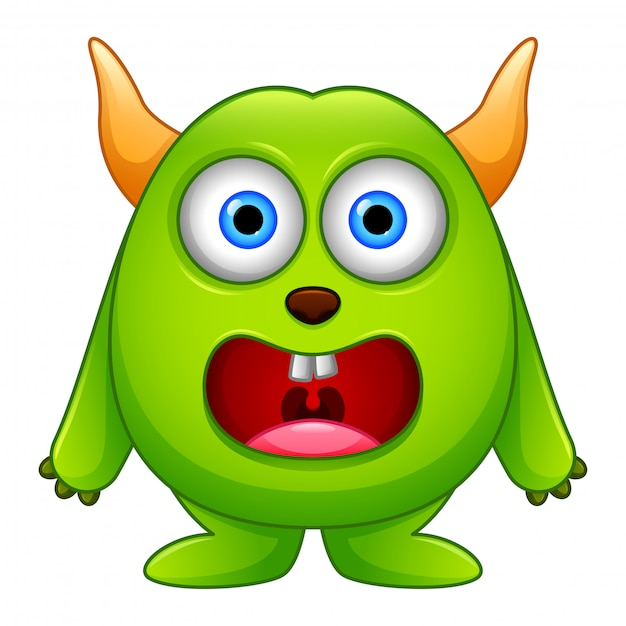 Cute little green cartoon monster isolated Premium Vector