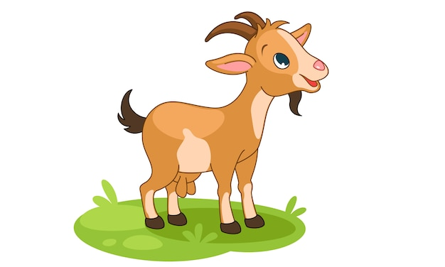 Cute little happy goat cartoon vector illustration Premium Vector