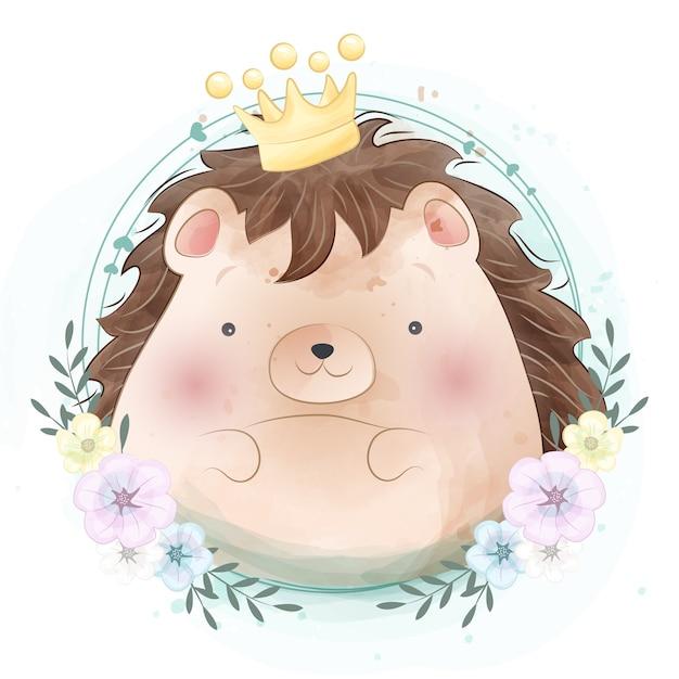 Cute little hedgehog portrait Premium Vector
