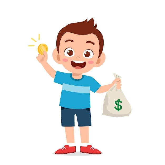 Симпатичный маленький мальчик с сумкой денег и монет Premium векторы