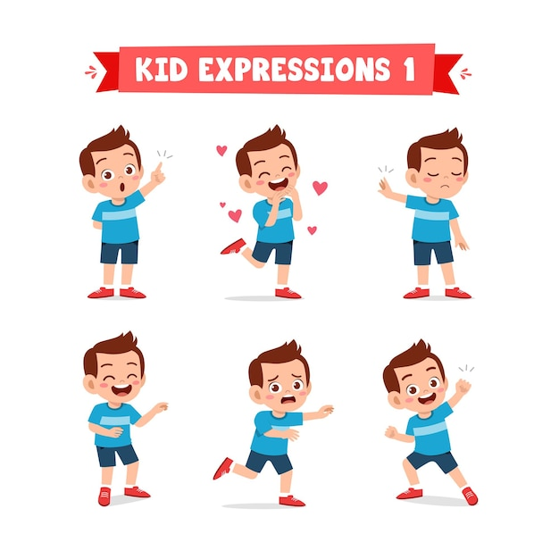 Cute little kid boy in various expressions and gesture set Premium Vector