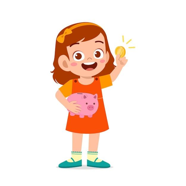 Милая маленькая девочка держит копилку и золотую монету Premium векторы