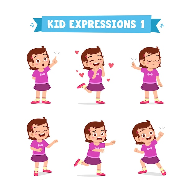 Cute little kid girl in various expressions and gesture set Premium Vector
