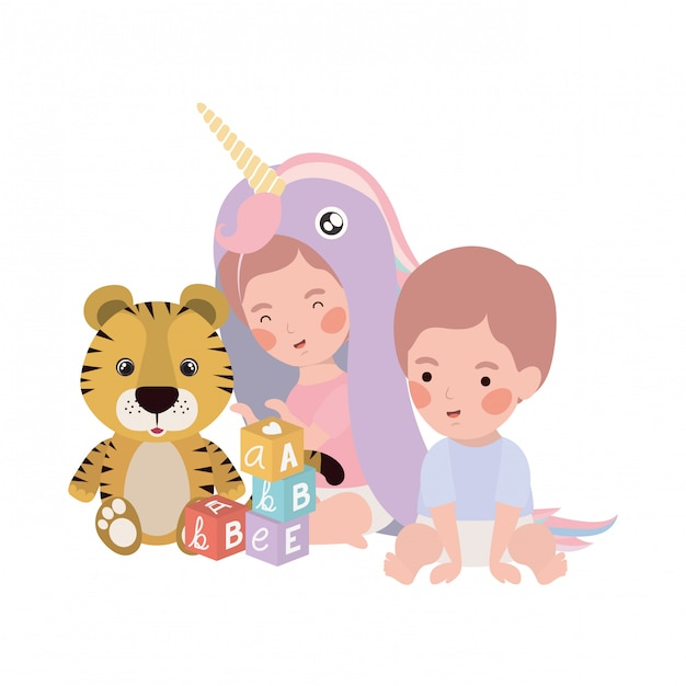 Cute little kid playing with lovely animal Premium Vector