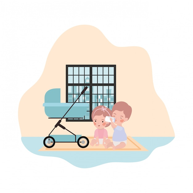 Cute little kids babies with cart characters Premium Vector