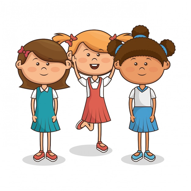 Cute little kids characters Free Vector