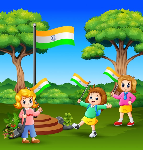 Cute little kids holding national flag and enjoying on nature Premium Vector