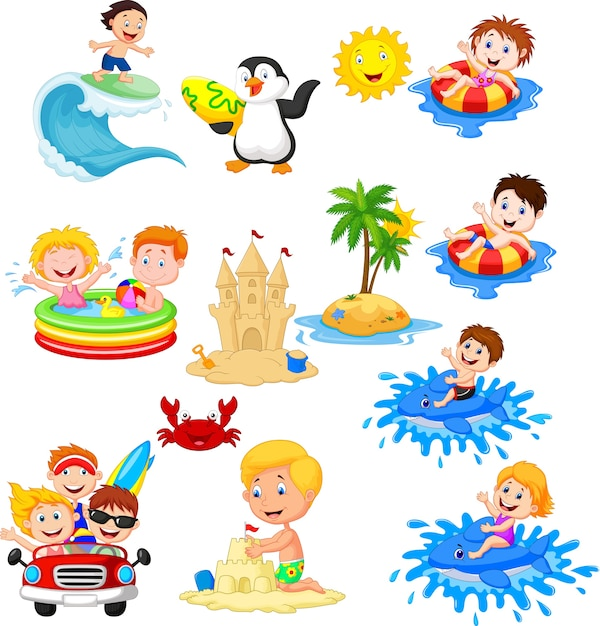 Cute little kids playing on the beach Premium Vector