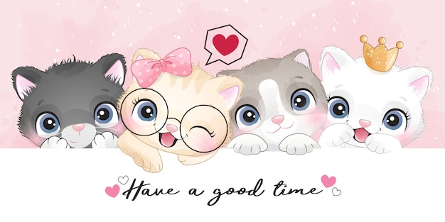 Cute little kittens with watercolor effect illustration Premium Vector